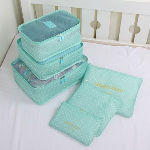 TRAVEL SEASON 6Pcs Set Travel Essential Storage Pouches Bags Organizer - Cyan Polka Dots