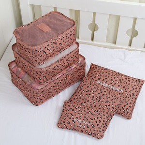 TRAVEL SEASON 6Pcs Set Travel Essential Storage Pouches Bags Organizer - Tawny Leopard