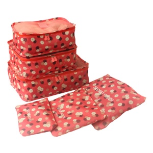 TRAVEL SEASON 6Pcs Set Travel Essential Storage Pouches Bags Organizer - Red Floral