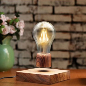 Wood Grain Magnetic Levitating Light Bulb Desk Floating Lamp - US Plug