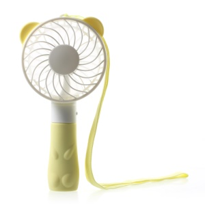 Bear Shape Portable USB Cooling Fan Handheld Mini Fan with 2 Adjustable Speeds - Yellow