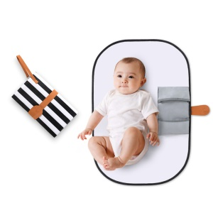 Portable Waterproof Diaper Changing Bag Organizer Mat for Infants with Storage Function - Black  and White Stripes
