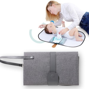 Portable Waterproof Diaper Changing Bag Organizer Station for Infants with Storage Function - Grey