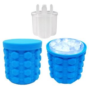 Soft Silicone Ice Cube Maker Ice Genie Space Saving Drink Holder Ice Bottle - Blue / Size: L