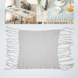 Knitted Fabric Kitchen Placemat with Tassels for Dining Table, Size: 40 x 50cm - Light Grey