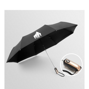 NIELLO Lightweight Tri-fold One Button Automatic Umbrella for Men and Women - Storm Troops / Gold Handle