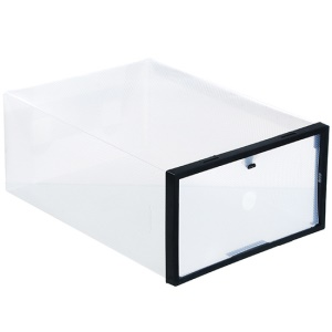 Black - Crystal Transparent DIY Thickened Plastic Rectangle Shoes Storage Box Shoes Organizer