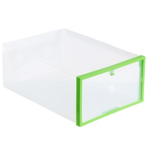 Green - Crystal Transparent DIY Thickened Plastic Rectangle Shoes Storage Box Shoes Organizer