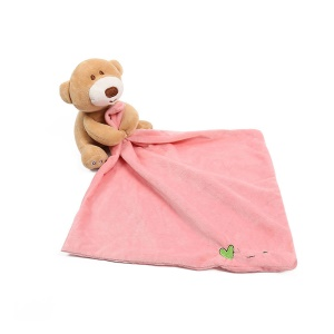 Pink - AIPINQI Cute Bear Doll Super Soft Newborn Baby Handkerchief Appease Towel