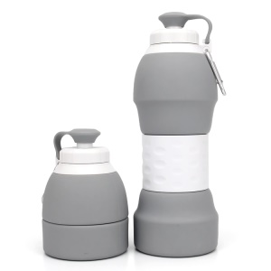 580ML Portable Foldable Collapsible Silicone Water Bottle for Hiking Camping - Grey