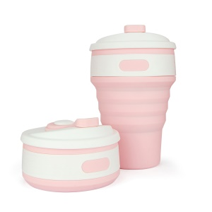 Foldable Collapsible Silicone Coffee Mug Tea Cup for Camping Hiking - Pink