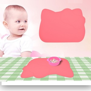 Cartoon Image Silicone Placemat Kitchen Anti-slip Insulation Coasters Baby Tableware Mat - Red