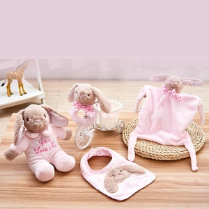 4-in-1 Infant Toy Set Rabbit Plush Music Doll + Appease Towel + Soothing Bell + Bib - Pink