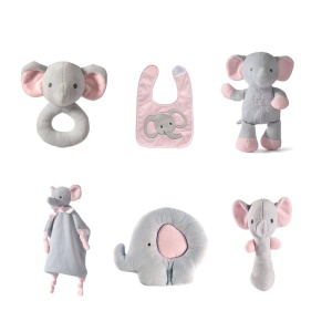 6-in-1 Baby Toy Set Stuffed Music Doll + Head Shaping Pillow + Clutch Rod + Appease Towel + Soothing Bell + Bib - Elephant
