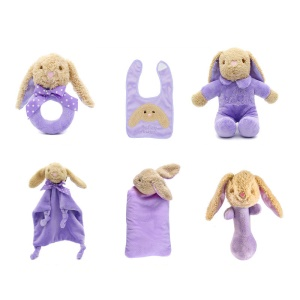 6-in-1 Infant Play Set Plush Music Doll + Head Shaping Pillow + Clutch Rod + Appease Towel + Soothing Bell + Bib - Rabbit / Purple