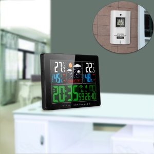 Temperature Humidity Wireless Weather Forecast Station Alarm and Snooze Thermometer Hygrometer Clock - EU Plug
