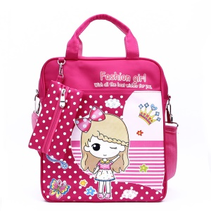 Polyester Convertible School Bag Backpack Bag Handbag Messenger Bag - Pretty Girl / Rose