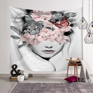 Print Home Tapestry Wall Blanket Carpet Decor Hangings Cloth Tapestry, Size: 150 x 130cm - Butterfly and Flowered Girl