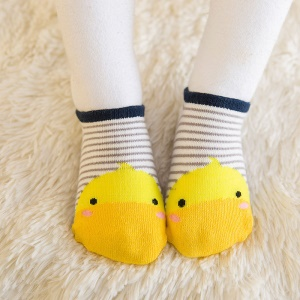 Cute Cartoon Toddler Anti-slip Socks Baby Spring Autumn Floor Wear Cotton Socks - Size: 0-12 Months / Stripe Yellow Chick