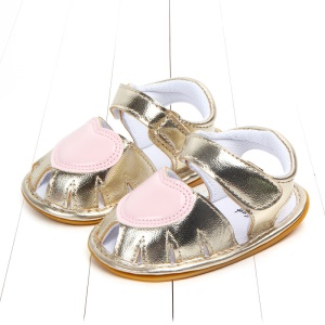 Heart Pattern Baby Girl PU Leather Beach Shoes Sandals for Summer - Gold / Size: 13
