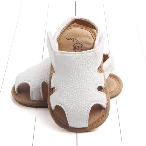 Summer Soft Toddler Sandals PU Leather Breathable Hollow Out Baby Shoes - White / Size: 12cm