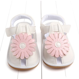 Cute Sunflower Decorated Girls Outdoor Sport Shoes PU Leather Beach Sandals Shoes - Pink/White, Size: 12
