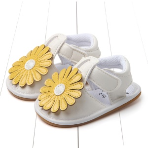 Cute Sunflower Decorated Girls Outdoor Sport Shoes PU Leather Beach Sandals Shoes - Yellow/White, Size: 12