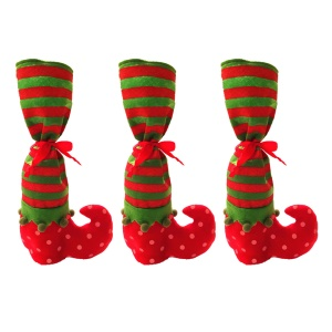 3PCS/Set Christmas Elf Pattern Christmas Children Gift Bag Candy Bag Red Wine Pouch