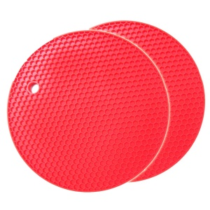 2Pcs Honeycomb Silicone Round Non-slip Heat Resistant Placemats Coaster - Red