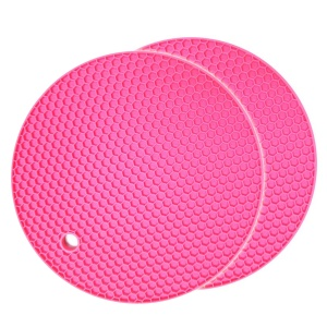 Résistant à la chaleur Holder 2Pcs Honeycomb napperons non-dérapant Round Pot - Rose