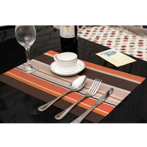 6PCS Stripe Pattern Anti-slip Heat Insulation PVC Placemat para mesa de jantar - laranja