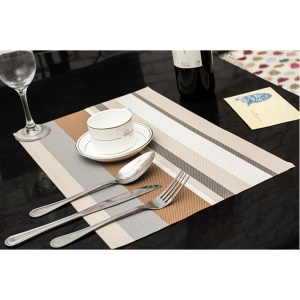 6PCS Stripe Pattern Anti-slip Heat Insulation PVC Placemat for Dining Table - Coffee