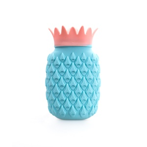 Silicone Pineapple Water Injection Hot Water Bottle Hand Warmer - Blue