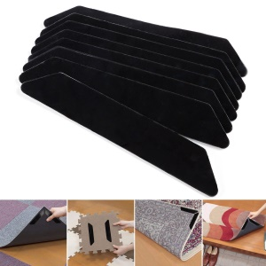 8Pcs/Set Non-slip Anti-curling Rug Grippers with Strong 3M Adhesive - Black