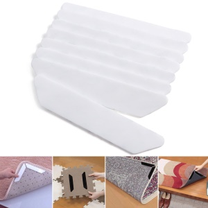 8Pcs/Set Non-slip Anti-curling Rug Grippers with Strong 3M Adhesive - White
