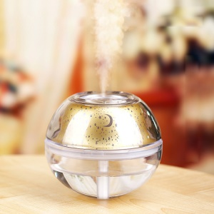 USB Colorful LED Projector Light Humidifier Crystal Projection Lamp Night Lamp - Gold