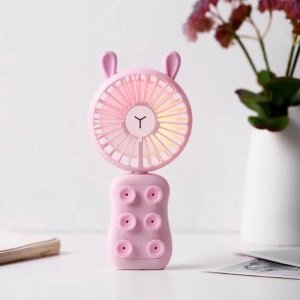 USB Mini Fan LED Light Rechargeable Cooling Fan Stand with 2 Speeds - Rabbit / Pink