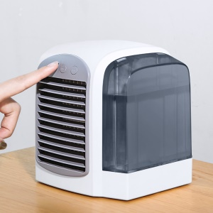CE Certificated Portable Desktop Mini Air Cooler Cooling Fan Humidifier with 3 Adjustable Speed for Home Office Use - Grey