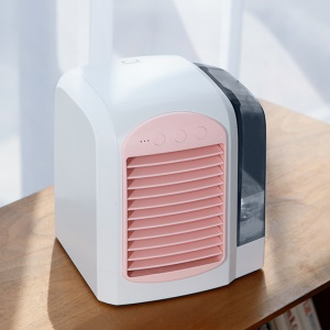 CE Certificated Portable Desktop Mini Air Cooler Cooling Fan Humidifier with 3 Adjustable Speed for Home Office Use - Pink