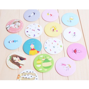 12Pcs Compact Lovely Makeup Mirror Cosmetic Pocket Purse Hand Mirror, Diameter: 2.6-inch
