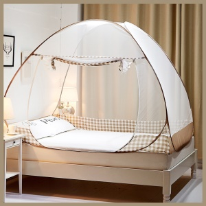 Foldable Mosquito Nets Pop Up Bend Tent with Double Doors for Home and Travel - Beige