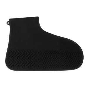 One Pair Reusable Waterproof Rain Boot Shoe Covers Silicone Shoe Covers, Size: L - Black