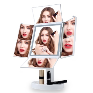 Portable LED Fourfold Makeup Mirror with 34 LED Lights,  2X/3X/5X/7X Magnifying Lighted Mirror