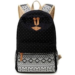 Dots Tribal Pattern Casual Canvas Backpack for Teens - Black