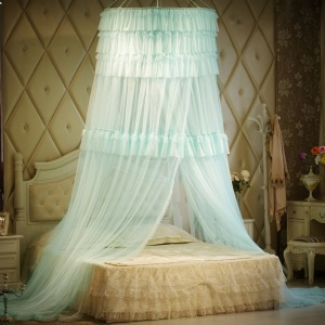 Summer Round Ruffle Lace Princess Bed Mosquito Net - Baby Blue