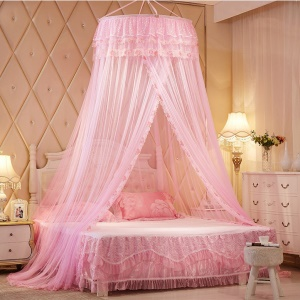 Round Lace Princess Bed Canopy Mosquito Net - Pink
