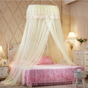 Round Lace Princess Bed Netting Mosquito Net - Yellow