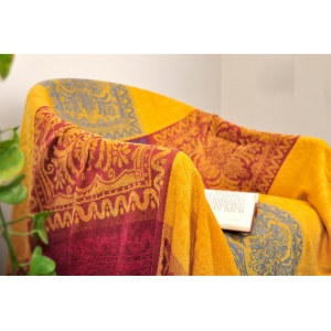 Chenille Jacquard Sofa Towel Blanket Chair Cover 220 x 260cm - Ethnic Style Pattern
