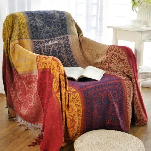 220 x 260cm Chenille Slipcover Sofa Towel Chair Blanket - Colorful Tribal Pattern