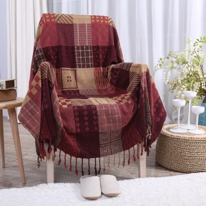 Chenille Jacquard Blanket Sofa Chair Cover 220 x 260cm - Reddish Brown Geometric Patterns
